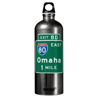 Omaha, NE Road Sign Water Bottle