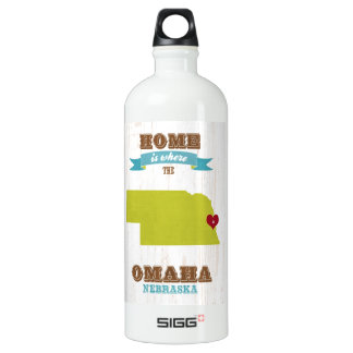 Omaha, Nebraska Map – Home Is Where The Heart Is Aluminum Water Bottle