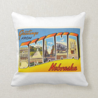 Omaha Nebraska NE Old Vintage Travel Souvenir Throw Pillow