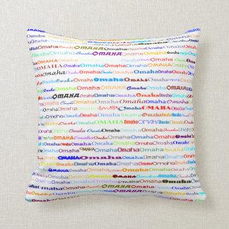 Omaha Text Design II Throw Pillow