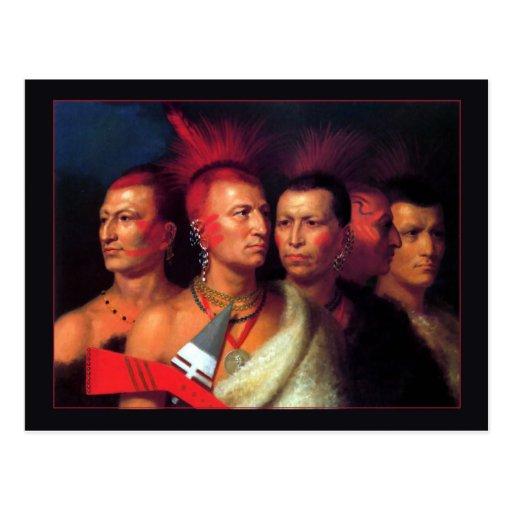Omahaw joven, guerra Eagle, poco Missouri y Pawnee Tarjeta Postal