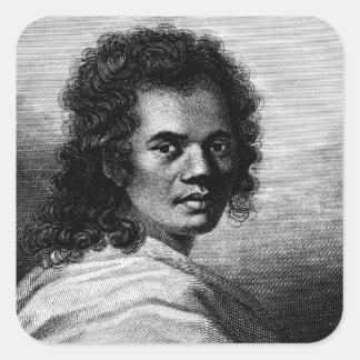 Omai, grabado por J.Caldwall, 1777 Pegatina Cuadrada