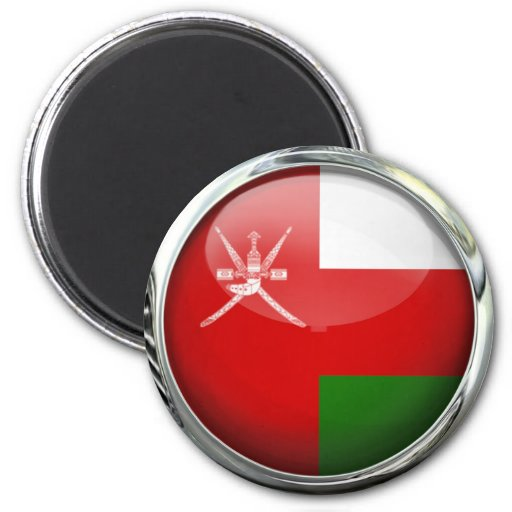 Oman Flag Glass Ball 2 Inch Round Magnet