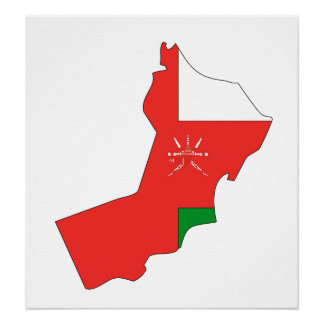 Oman Flag Map full size Poster