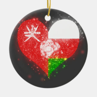 Oman Flag Shining Unique Double-Sided Ceramic Round Christmas Ornament
