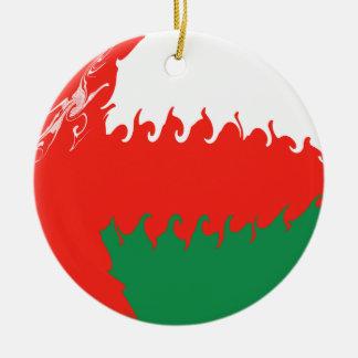Oman Gnarly Flag Ceramic Ornament