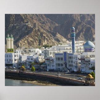 Oman, Muscat, Mutrah. Buildings along Mutrah Poster
