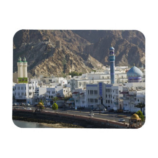 Oman, Muscat, Mutrah. Buildings along Mutrah Rectangular Photo Magnet