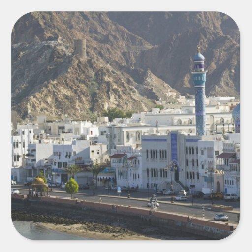 Omán, Muscat, Mutrah. Edificios a lo largo de Calcomania Cuadradas Personalizada