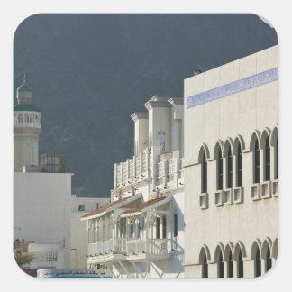 Omán, Muscat, Mutrah. Mezquita de Mutrah Corniche Pegatina Cuadrada