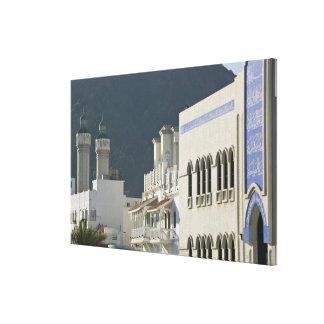 Oman, Muscat, Mutrah. Mutrah Corniche Mosque and Canvas Print