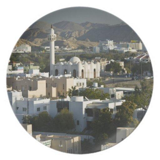Oman, Muscat, Qurm. Buildings of Qurm Area / 2 Dinner Plates