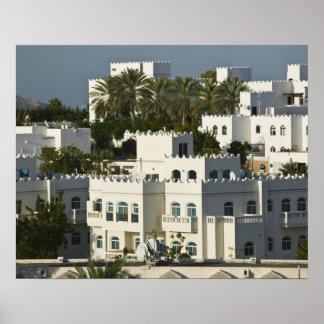 Oman, Muscat, Qurm. Buildings of Qurm Area / Poster
