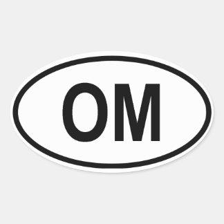 "Omán ""OM "" Pegatina Ovalada"