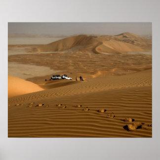 Oman, Rub Al Khali desert, driving on the dunes Poster