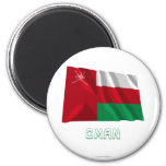 Oman Waving Flag with Name 2 Inch Round Magnet