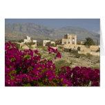 Oman, Western Hajar Mountains, Al Hamra. Town Greeting Card