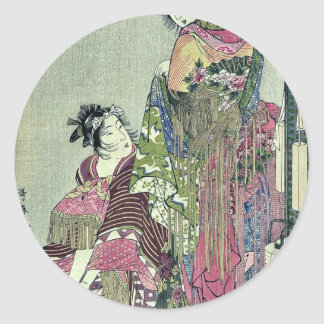 Omando ogie oiyo takej by Kitagawa, Utamaro Ukiyoe Classic Round Sticker