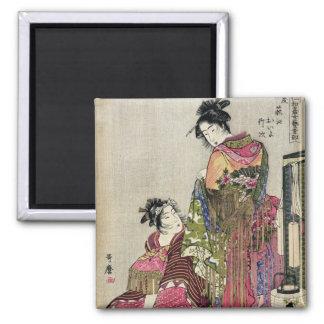 Omando - Ogie Oiyo y Takeji por Utamaro Imán Cuadrado