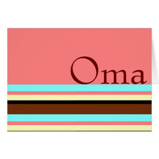 Oma's Cream blue brown pink Greeting Cards