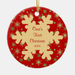 Oma's First Christmas Red Snowflake Ornament