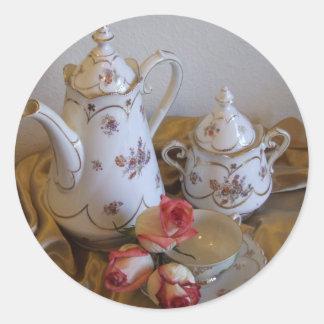Oma's Tea Set Classic Round Sticker