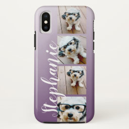 Ombre 4 Photos Handwritten Font -- CAN EDIT COLOR iPhone X Case
