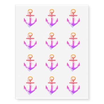 Beach Themed Ombre Anchor Temporary Tattoos