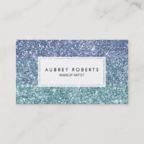 Ombre Aqua Blue Faux Glitter Girly Business Cards