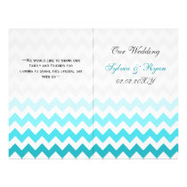 Ombre aqua Chevron folded Wedding program