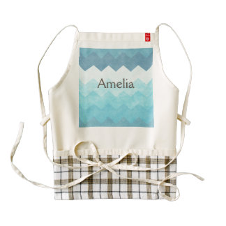 Ombre,aquamarine,girly,chevron,zig zag,pattern,fun zazzle HEART apron