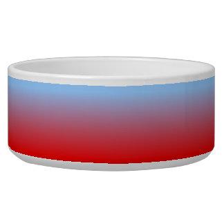 Ombre azul claro y rojo bol para perro