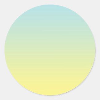 Ombre azul y amarillo pegatina redonda