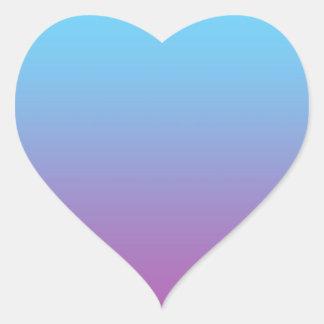 Ombre azul y púrpura pegatina en forma de corazón
