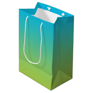 Ombre azul y verde bolsa de regalo mediana