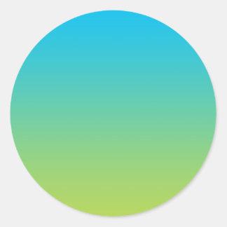 Ombre azul y verde pegatina redonda