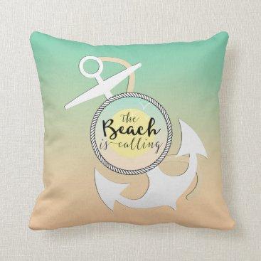 Beach Themed Ombre Beach Nautical Anchor Throw Pillow