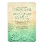 Ombre beach rehearsal dinner - teal sand dollar 5x7 paper invitation card