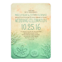 Ombre beach wedding invitations - blush teal color