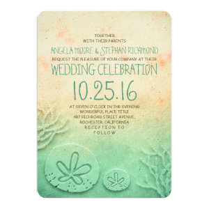 Ombre beach wedding invitations - blush teal color 5
