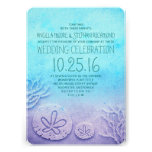 Ombre beach wedding invitations - turquoise blue personalized announcement