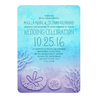 Great Ombre Beach Wedding Invitations   Turquoise Blue