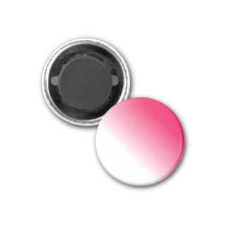 Ombre blanco de color rosa oscuro imán redondo 3 cm