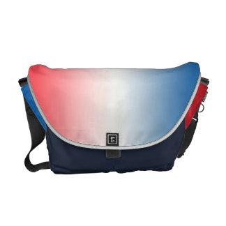 Ombre blanco y azul rojo bolsa messenger