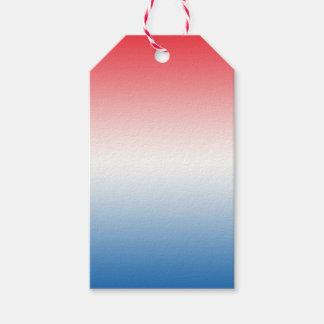 Ombre blanco y azul rojo etiquetas para regalos