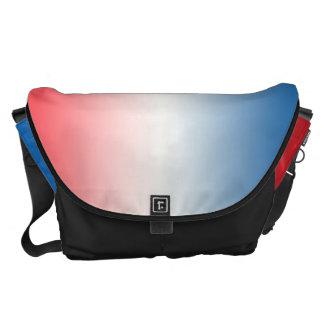 Ombre blanco y azul rojo grande bolsa de mensajeria