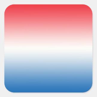 Ombre blanco y azul rojo pegatina cuadrada