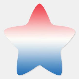 Ombre blanco y azul rojo pegatina en forma de estrella