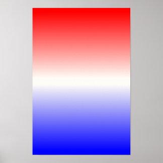 Ombre blanco y azul rojo póster
