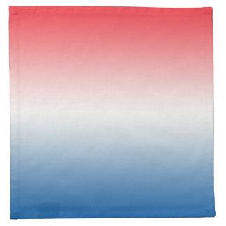 Ombre blanco y azul rojo servilleta de papel